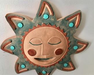 """$45 Signed  Frontier Studios, Tucson, AZ. handcrafted ceramic sun form with turquoise color accents,  10"""" diam."""
