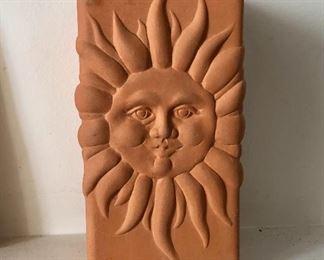 "$50 - Terracota pottery sun vase, signed ""Romertopf by Reco"".  7.25"" H, 4"" W, 4"" D."