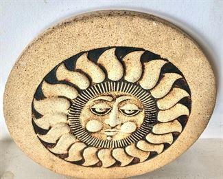 """$40 - Ceramic black and stone sun sculpture, signed  -  8"""" diam."""