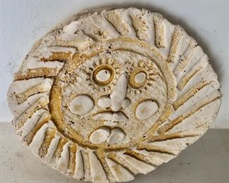 """$40 - Ceramic sun sculpture with rays border, stamped.  6.25"""" H x 7"""" W."""