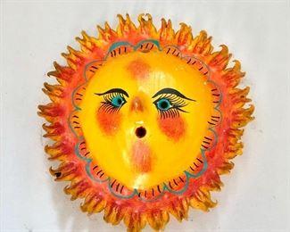 """$40 Paper mache sun sculpture #3 6"""" diam."""