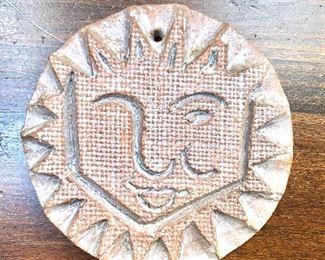 """$45 - """"Deld"""" signed Ceramic sun form.  5"""" diam."""