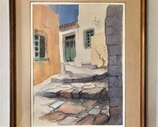 "$295  Southwest scene signed watercolor ( illegible ).  31"" H x 25"" W."
