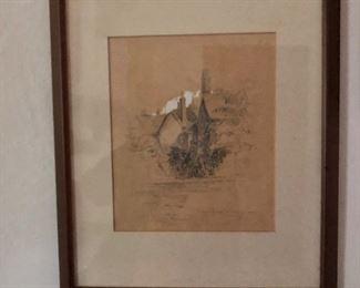 "$150  Porter's Lodge , Trinity College , Oxford antique print.  18"" H x 15"" W."