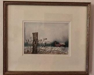 """$125 Durfee signed watercolor #4.   11"""" H x 13"""" W."""