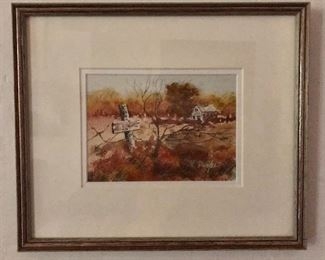 """$125 Durfee signed watercolor #3.   11"""" H x 13"""" W."""
