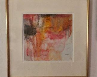 """$165 Searman signed watercolor.   14.25"""" H x 14.25"""" W."""