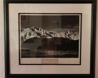 """$325 Ansel Adams, Sierra Nevada from Lone Pine, CA. authorized reproduction initialed """"AA"""".   19"""" H x 21"""" W."""
