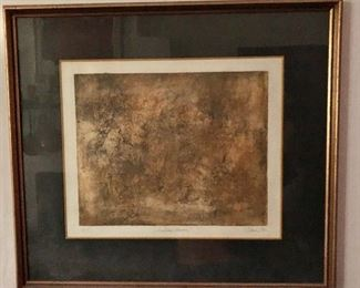 """$275 Edna signed  """"Golden Aura"""" print.   Signed Edna, dated 1971 and inscribed 'A.P.' (Artist's proof).  21"""" H x 23.5"""" W."""