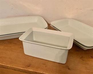 """$24 each. Dansk baking dishes. Left: 2 large baking dishes each 15"""" L, 9.75"""" W, 2""""deep.   Right: 2 medium baking dishes each 12.75"""" L, 8"""" W, 2""""deep.  Center: Loaf pan SOLD  9"""" L, 5.75"""" W, 4""""deep."""