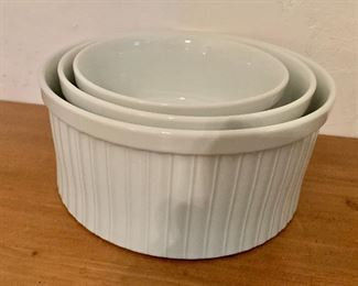 "$45. Set of 3 Dansk nested bowls.  Large: 8"" diam, 4"" H.  Medium: 7"" diam, 3.5"" H.  Small: 6"" diam, 3"" H."