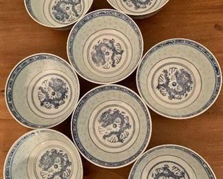 "$32. Set of 8 rice bowls.  4.75"" diam, 2"" H."