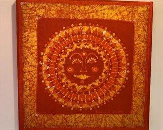 """$75 Signed batik sun design 22"""" H x 22"""" W."""