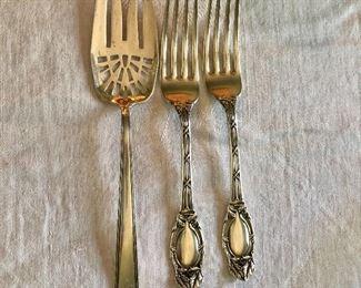 "$15 ea silver serving pieces #4, #5 SOLD , #6 SOLD  -  Fork on left 7.25"" L."