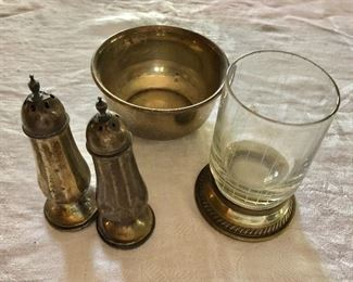 """$20 each - Sterling items.  Salt and pepper shakers each  3.75"""" H; bowl 3.5"""" diam; glass 3.5"""" H."""