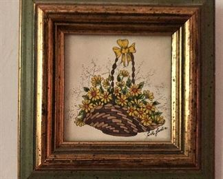 """$30 Signed basket of flowers with bow. 4.75"""" H x 4.75"""" W."""
