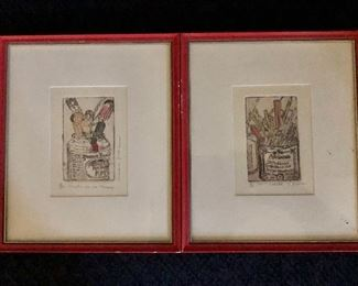 """$100 Pair of signed and numbered etchings.  Each 8.25"""" H x 7"""" W."""