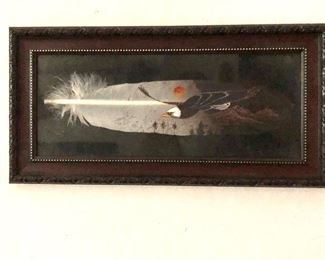 """$95 Framed painted feather -  7.25"""" H x 14.25"""" W."""