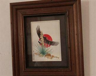 "$60 Paul Goble eagle signed original watercolor - 7.25"" H x 6.25"" W."
