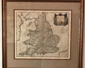 """$140 - Map of England framed.   23.25"""" H x 25.25"""" W."""