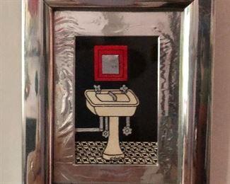 """$25 Framed sink print - 5.5"""" H x 4.5"""" W."""
