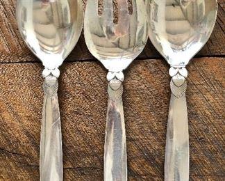 "$130 ea Georg Jensen Cactus pattern sterling silver serving pieces. Each 10.5"" L."