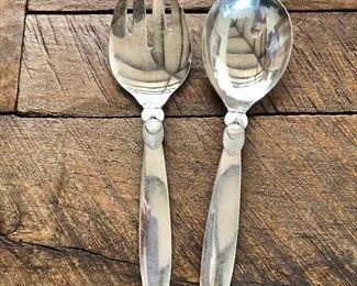 "$295 Georg Jensen Cactus (Kaktus) pattern sterling silver fork and spoon serving set. Each 9"" L."