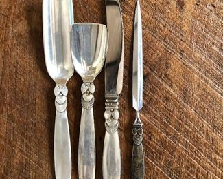 """Georg Jensen Cactus pattern sterling silver various serving pieces.   Largest 7"""" long, ($85 each Cheese serving scoop SOLD , tea caddy scoop, knife SOLD  )$35 smallest 5.5"""" long SOLD (middle knife available)"""