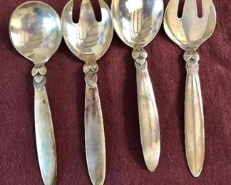 """$295 each set Georg Jensen Cactus pattern sterling silver fork and spoon sets. Each 5.5"""" L."""