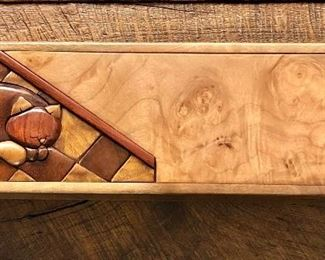 """$150  Signed wood box with carved cat. 13"""" L, 4"""" W,  3"""" H."""