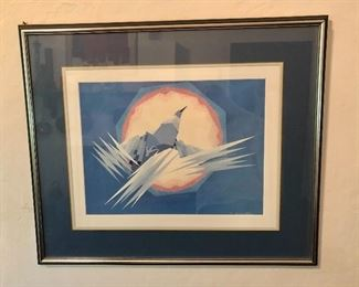 "$250 Oscar Howe  (Native American Dakota Nation  1915-1983) ""Mythical Bird""  framed print.  26.5"" H x 31.5"" W."