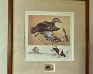 """$35 Framed C. Huber Migratory waterfowl print with duck stamp.  18.25"""" H x 17"""" W."""