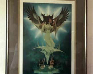"$375   Oscar Howe  (Native American Dakota Nation  1915-1983) ""Origin of the Sioux""  framed print.  42"" H x 31"" W."