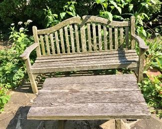 $140 - Outdoor teak bench  SOLD  and $75 - table