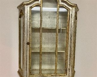 """$175 -  Venetian partial gilt silver wood Rococco style hanging display cabinet -  Approx 40"""" H, 22"""" W, 7"""" D."""
