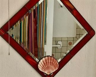 """$95 - Stained glass mirror with shell 14.5"""" x 14.5"""" square."""