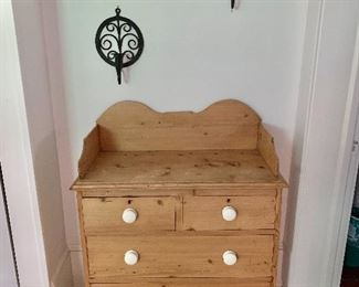 """$295  English country ppine wash stand with white knobs 43"""" H (top surface 33.5"""" H), 33"""" W, 16.5"""" D."""