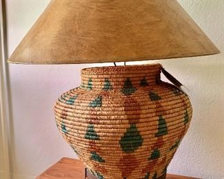 """$250  Woven basket lamp on metal stand  with Certificate of Authenticity 28"""" H, basket 16"""" diam."""