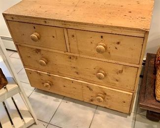 """$180  Knotty pine chest of drawers (right corner is chipped) 29.5"""" H, 35.5"""" W, 17.5"""" D."""
