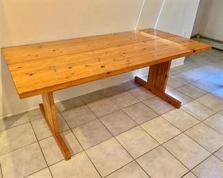 """$450  Knotty pine table/desk -  71"""" L, 33.75"""" W, 28.75"""" H,"""