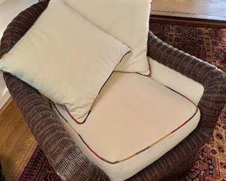 """$175 Wicker chair: 30"""" H, 36"""" W, 35"""" D."""