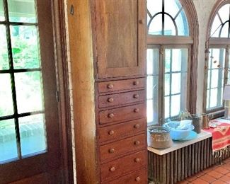 """$750  Early American style pine chimney chest -  84.5"""" H, 26"""" W, 17.5"""" D."""