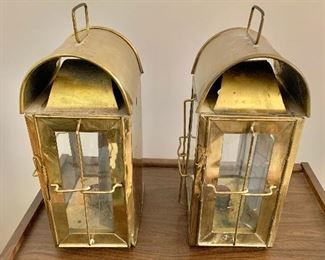 """$100  Pair lanterns, one as is, missing glass -  Each 15"""" H, 7"""" W, 7"""" D."""