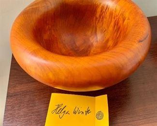 "$75 - Maple bowl signed ""Helga Winter"".  9"" diam, 4"" H."