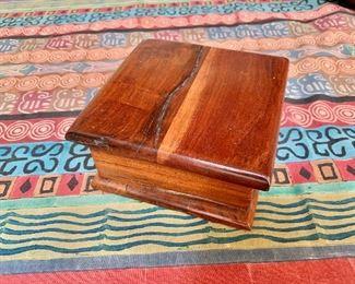 "$75 - Arts and crafts wood box - 25"" W, 5.5"" D, 2.75"" H."