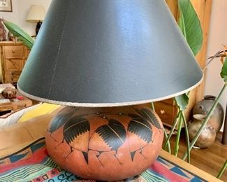 """$225 Robert Rivera """"Crawes""""  signed Gourd lamp with birds 21"""" H, base 12"""" diam."""