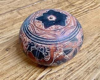 "$35 Hand carved gourd 5"" diam, 4"" H."