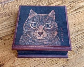 """$30  Signed cat wood box 6.5"""" W, 6.5"""" D, 3"""" H."""