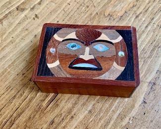 """$40 Inlay wood box with sun motif.   1.5"""" H, 3.5"""" W, 2.25"""" D."""