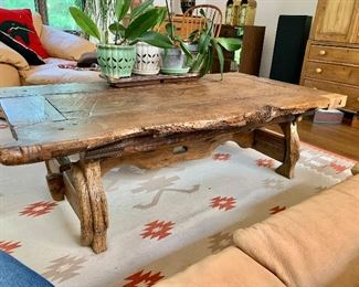 "$1400  - Vintage door coffee table  66"" L, 34"" W, 19.75"" H."